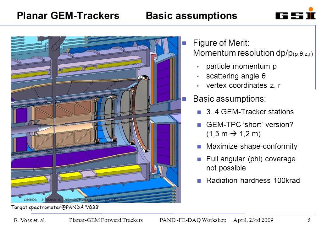 B. Voss et. al. 3 Planar-GEM Forward Trackers PAND -FE-DAQ WorkshopApril, 23rd 2009 Figure of Merit: Momentum resolution dp/p (p,θ,z,r) particle momen