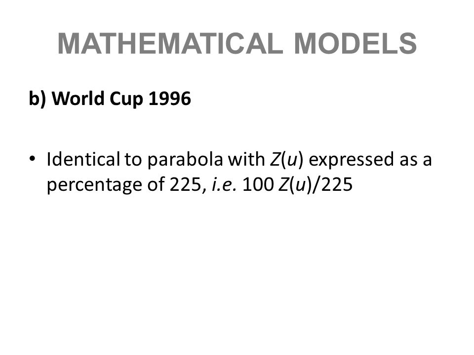 MATHEMATICAL MODELS b) World Cup 1996 Identical to parabola with Z(u) expressed as a percentage of 225, i.e. 100 Z(u)/225