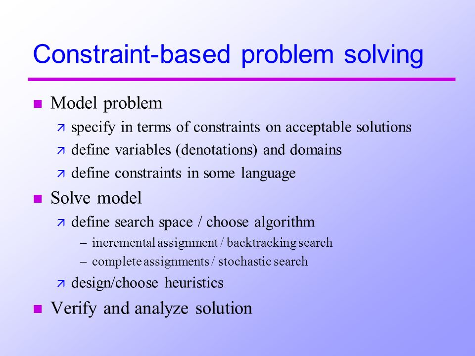 Constraint-based problem solving n Model problem ä specify in terms of constraints on acceptable solutions ä define variables (denotations) and domains ä define constraints in some language n Solve model ä define search space / choose algorithm –incremental assignment / backtracking search –complete assignments / stochastic search ä design/choose heuristics n Verify and analyze solution