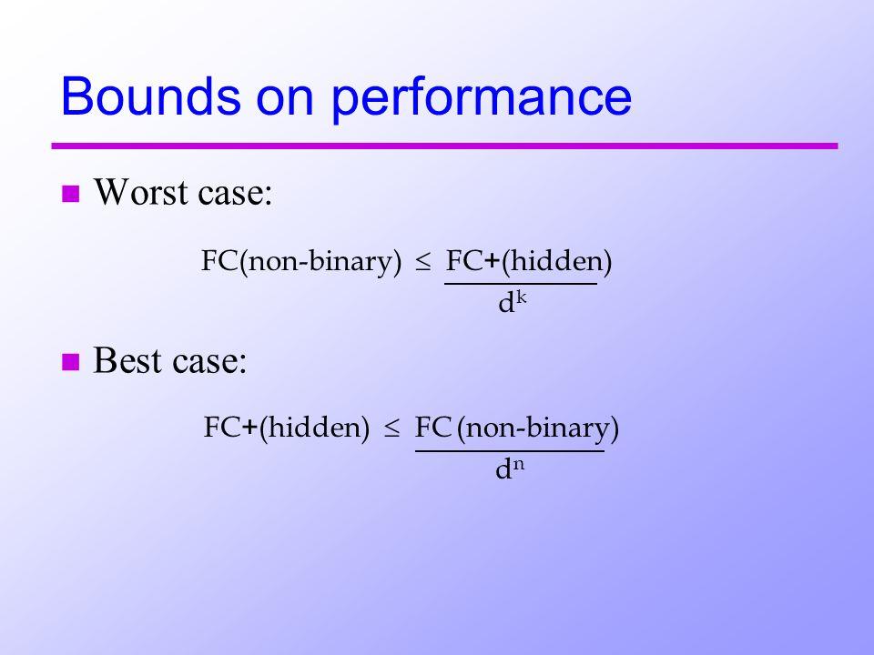 n Worst case: n Best case: Bounds on performance FC(non-binary) FC + (hidden) d k FC + (hidden) FC (non-binary) d n