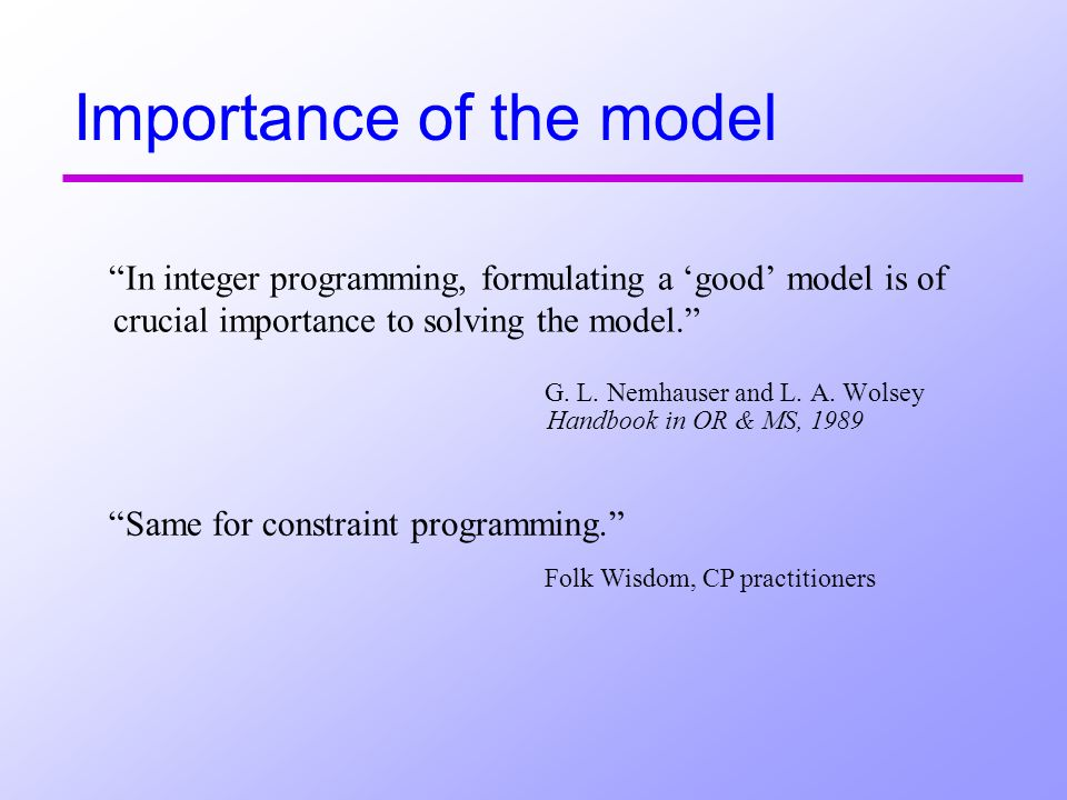 Importance of the model In integer programming, formulating a good model is of crucial importance to solving the model.