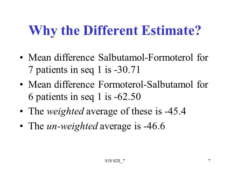 SJS SDI_77 Why the Different Estimate? Mean difference Salbutamol-Formoterol for 7 patients in seq 1 is -30.71 Mean difference Formoterol-Salbutamol f