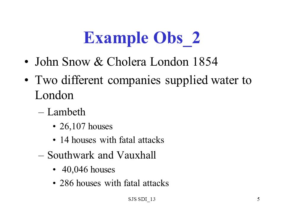 SJS SDI_135 Example Obs_2 John Snow & Cholera London 1854 Two different companies supplied water to London –Lambeth 26,107 houses 14 houses with fatal attacks –Southwark and Vauxhall 40,046 houses 286 houses with fatal attacks