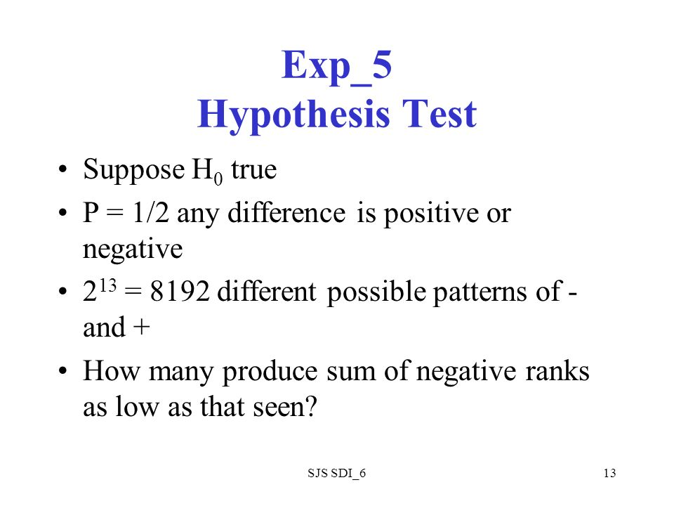 SJS SDI_613 Exp_5 Hypothesis Test Suppose H 0 true P = 1/2 any difference is positive or negative 2 13 = 8192 different possible patterns of - and + How many produce sum of negative ranks as low as that seen