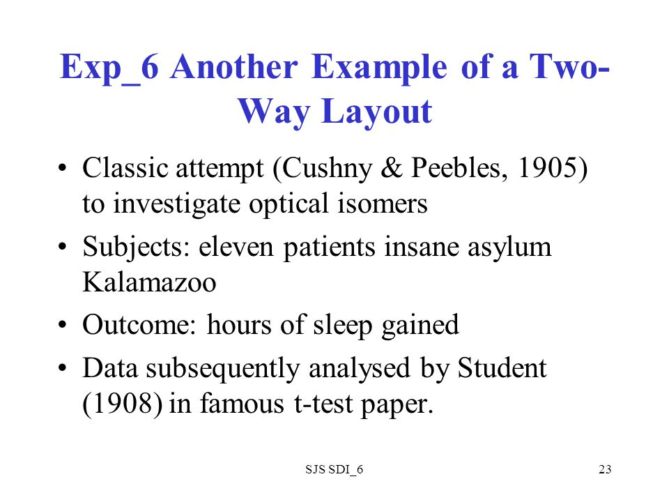 SJS SDI_623 Exp_6 Another Example of a Two- Way Layout Classic attempt (Cushny & Peebles, 1905) to investigate optical isomers Subjects: eleven patients insane asylum Kalamazoo Outcome: hours of sleep gained Data subsequently analysed by Student (1908) in famous t-test paper.