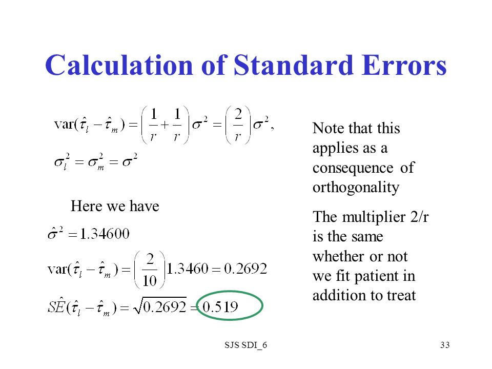 SJS SDI_633 Calculation of Standard Errors Here we have Note that this applies as a consequence of orthogonality The multiplier 2/r is the same whether or not we fit patient in addition to treat