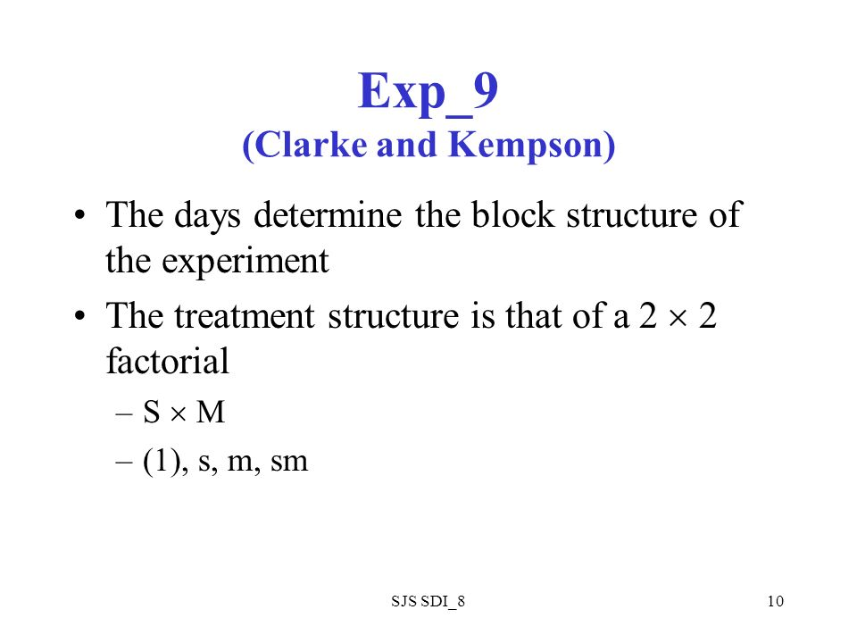 SJS SDI_810 Exp_9 (Clarke and Kempson) The days determine the block structure of the experiment The treatment structure is that of a 2 2 factorial –S M –(1), s, m, sm