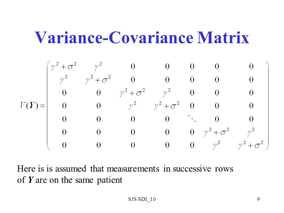SJS SDI_109 Variance-Covariance Matrix Here is is assumed that measurements in successive rows of Y are on the same patient