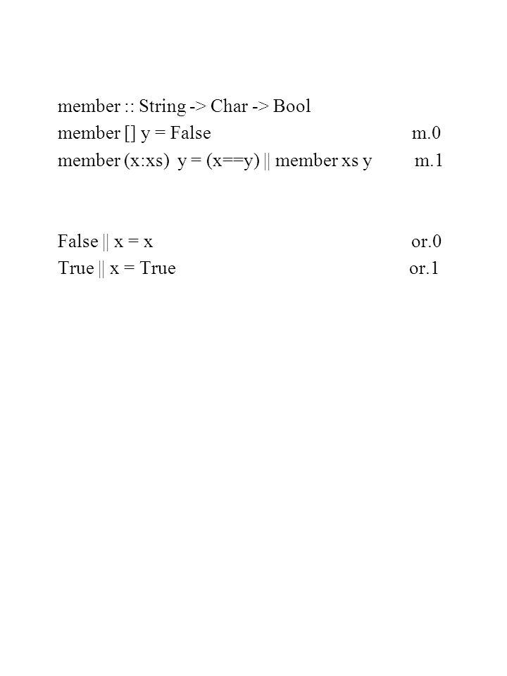 member :: String -> Char -> Bool member [] y = False m.0 member (x:xs) y = (x==y) || member xs y m.1 False || x = x or.0 True || x = True or.1