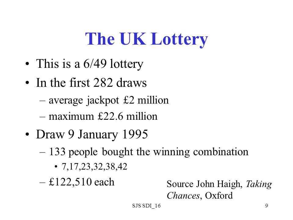 SJS SDI_169 The UK Lottery This is a 6/49 lottery In the first 282 draws –average jackpot £2 million –maximum £22.6 million Draw 9 January 1995 –133 people bought the winning combination 7,17,23,32,38,42 –£122,510 each Source John Haigh, Taking Chances, Oxford