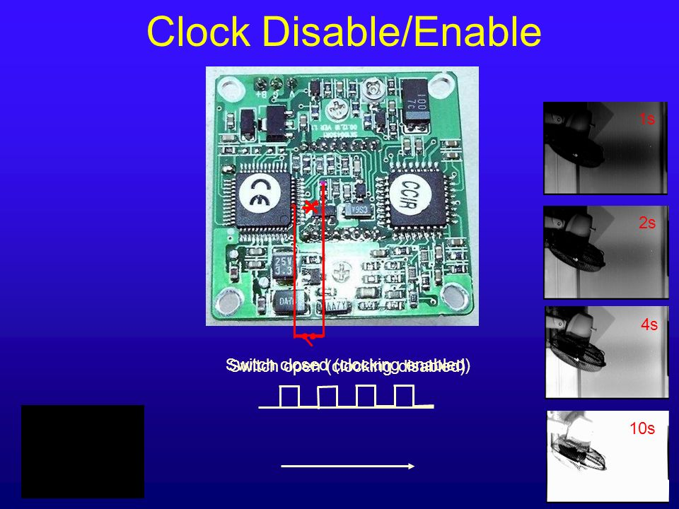 Switch open (clocking disabled) Switch closed (clocking enabled) 1s 2s 4s 10s Clock Disable/Enable