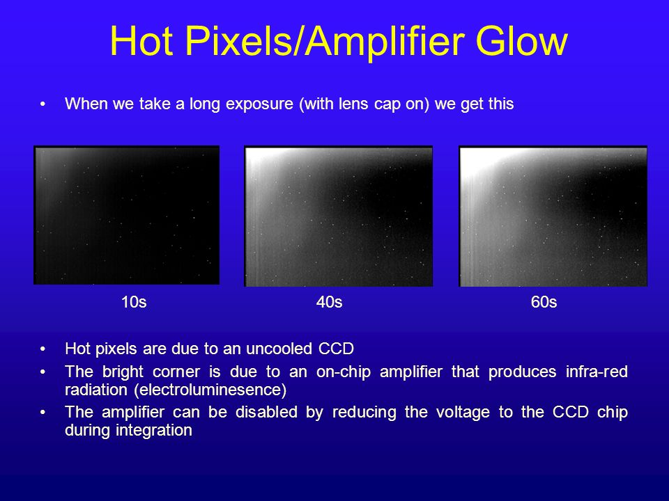 Hot Pixels/Amplifier Glow When we take a long exposure (with lens cap on) we get this 10s 40s 60s Hot pixels are due to an uncooled CCD The bright cor