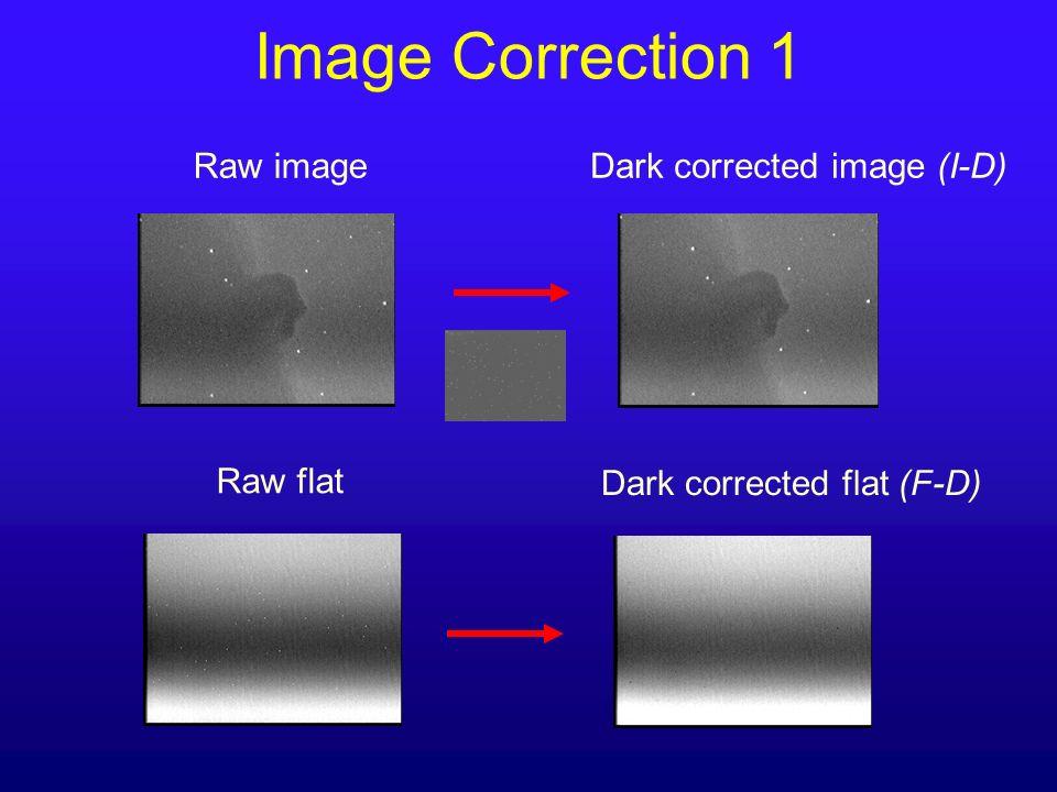 Image Correction 1 Raw flat Dark corrected flat (F-D) Raw imageDark corrected image (I-D)