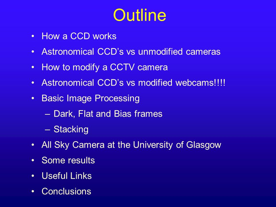 Outline How a CCD works Astronomical CCDs vs unmodified cameras How to modify a CCTV camera Astronomical CCDs vs modified webcams!!!! Basic Image Proc