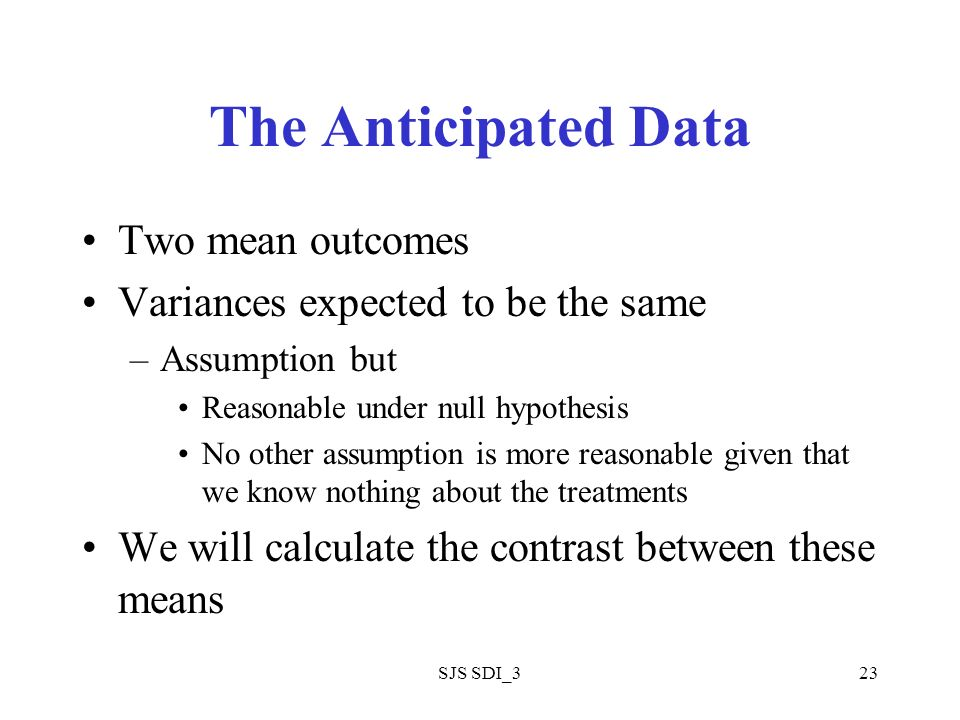 SJS SDI_323 The Anticipated Data Two mean outcomes Variances expected to be the same –Assumption but Reasonable under null hypothesis No other assumption is more reasonable given that we know nothing about the treatments We will calculate the contrast between these means