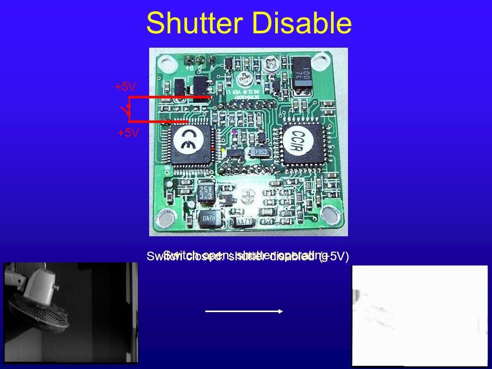 +5V Switch open: shutter operating Shutter Disable +5V Switch closed: shutter disabled (+5V)