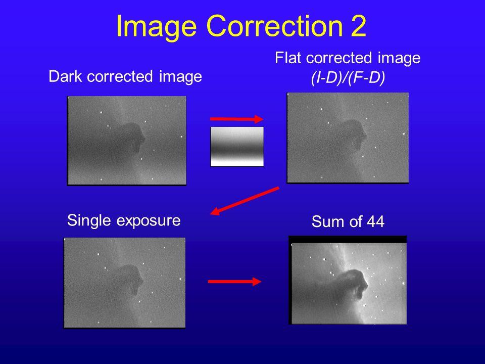 Image Correction 2 Dark corrected image Sum of 44 Single exposure Flat corrected image (I-D)/(F-D)