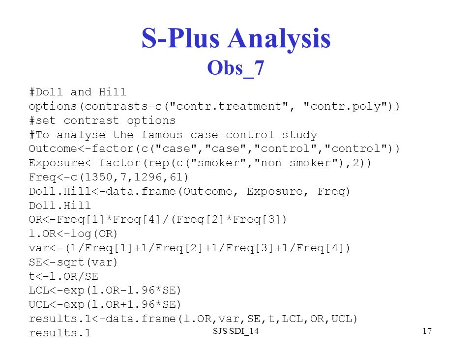 SJS SDI_1417 S-Plus Analysis Obs_7 #Doll and Hill options(contrasts=c(