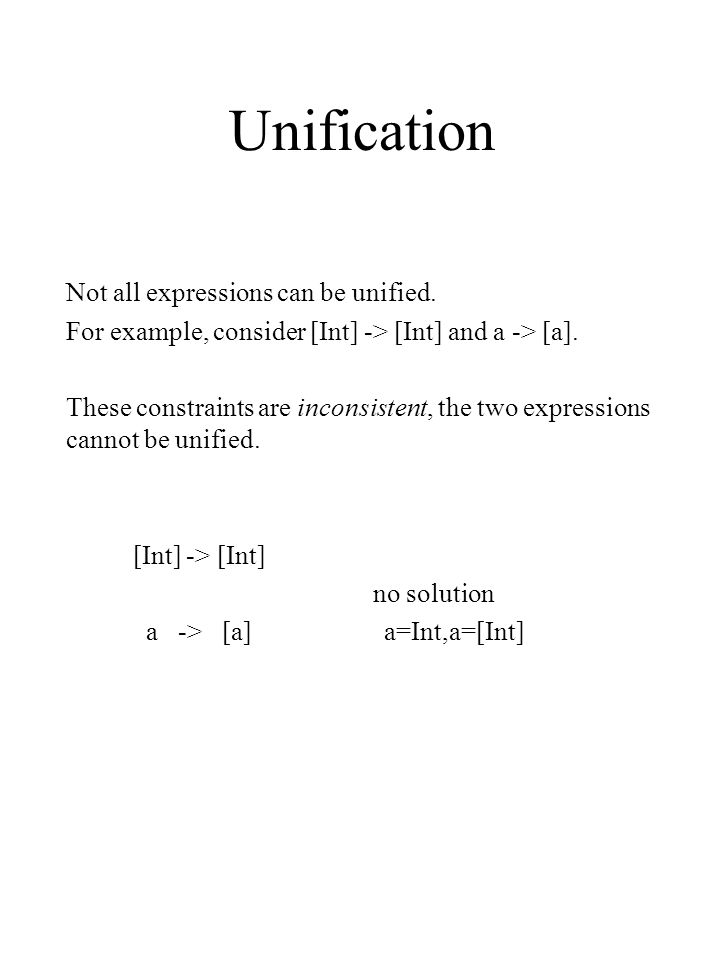 Unification Not all expressions can be unified. For example, consider [Int] -> [Int] and a -> [a].