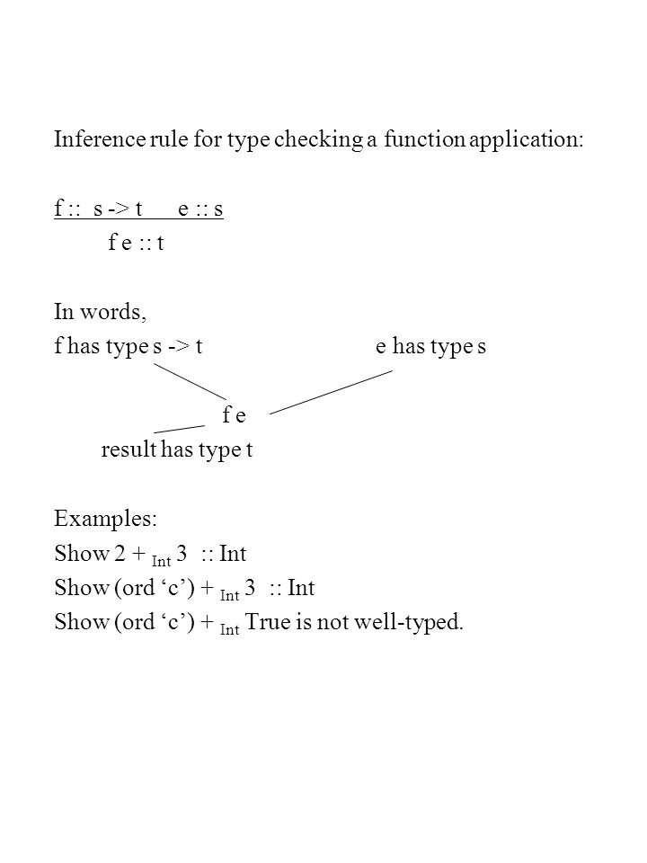 Type checking polymorphic function application Example: map :: (a -> b) -> [a] -> [b] ord :: Char -> Int What is type of map ord.