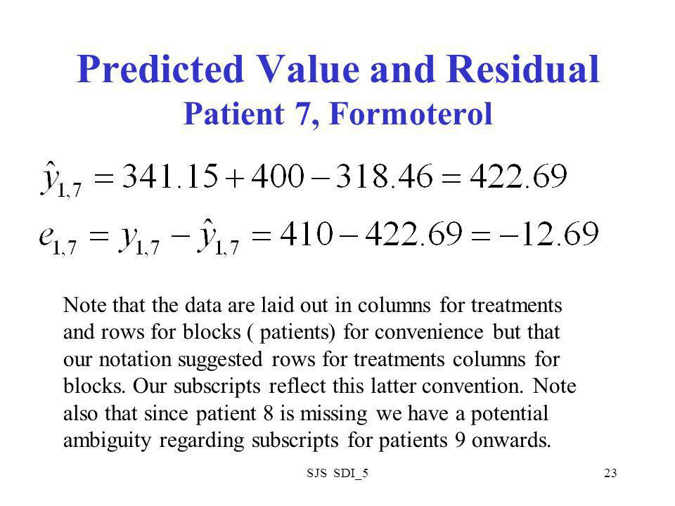 SJS SDI_523 Predicted Value and Residual Patient 7, Formoterol Note that the data are laid out in columns for treatments and rows for blocks ( patients) for convenience but that our notation suggested rows for treatments columns for blocks.