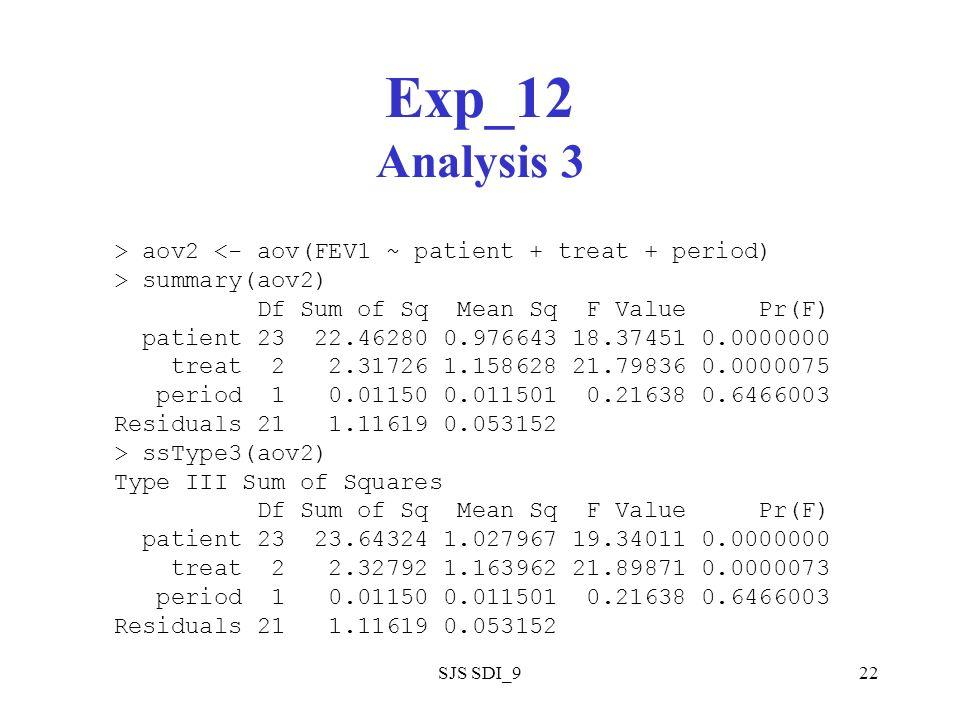 SJS SDI_922 Exp_12 Analysis 3 > aov2 <- aov(FEV1 ~ patient + treat + period) > summary(aov2) Df Sum of Sq Mean Sq F Value Pr(F) patient 23 22.46280 0.976643 18.37451 0.0000000 treat 2 2.31726 1.158628 21.79836 0.0000075 period 1 0.01150 0.011501 0.21638 0.6466003 Residuals 21 1.11619 0.053152 > ssType3(aov2) Type III Sum of Squares Df Sum of Sq Mean Sq F Value Pr(F) patient 23 23.64324 1.027967 19.34011 0.0000000 treat 2 2.32792 1.163962 21.89871 0.0000073 period 1 0.01150 0.011501 0.21638 0.6466003 Residuals 21 1.11619 0.053152