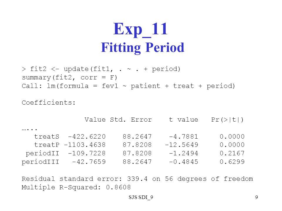 SJS SDI_99 Exp_11 Fitting Period > fit2 <- update(fit1,.