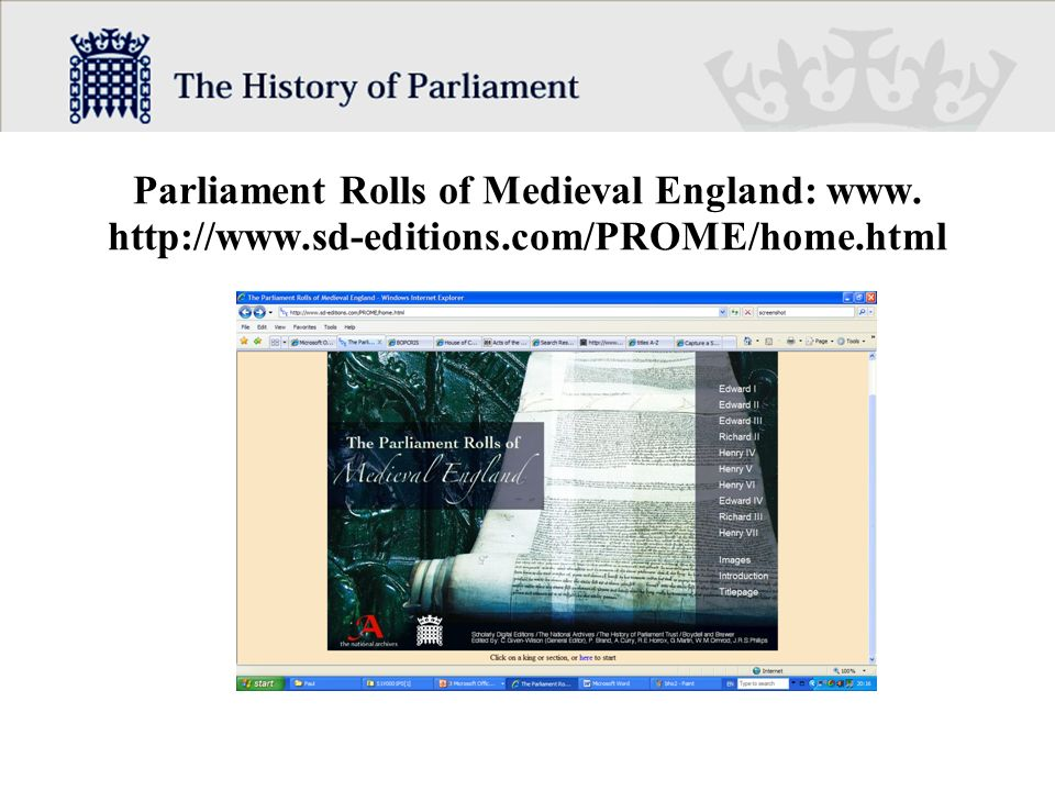 Parliament Rolls of Medieval England: www.