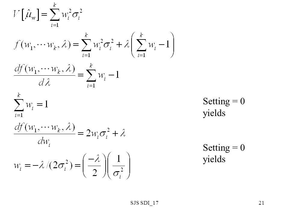 SJS SDI_1721 Setting = 0 yields