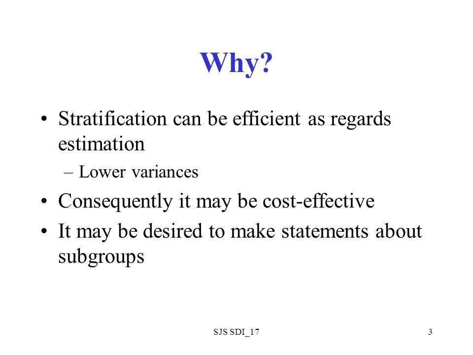 SJS SDI_174 General Model L = number of strata N i = number of sampling units in stratum I N = number of sampling units in population = N 1 + N 2 +…N L n i = number is sample from stratum i etc.