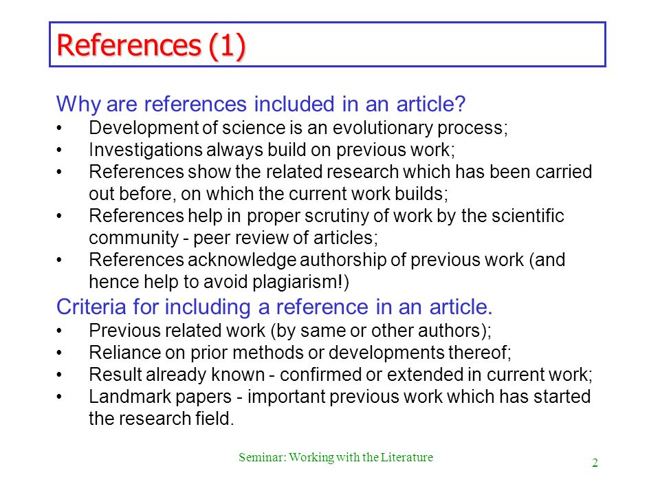 3 Seminar: Working with the Literature Example of a Paper and references Notes J.A.P.