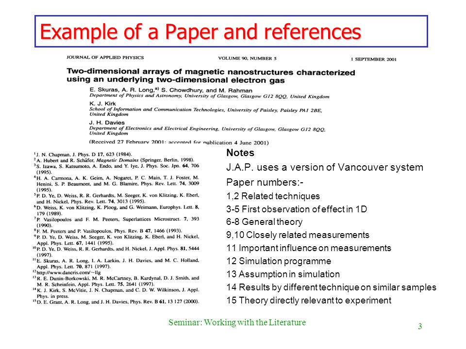 4 Seminar: Working with the Literature References (2) Putting references into an article: Need to be punctilious.