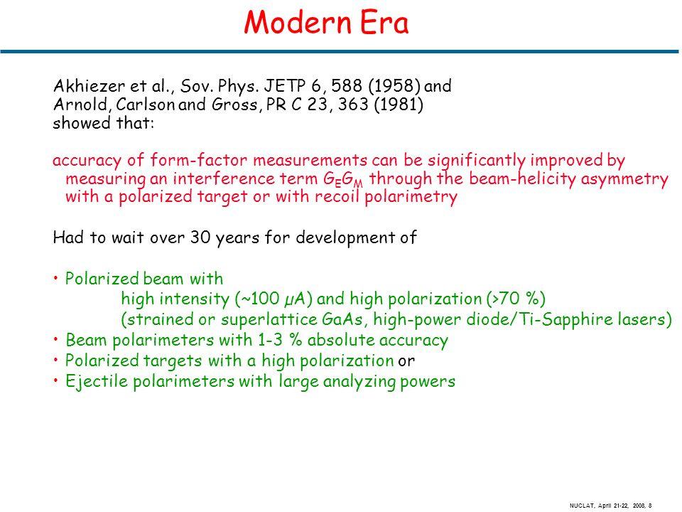 NUCLAT, April 21-22, 2008, 8 Modern Era Akhiezer et al., Sov.