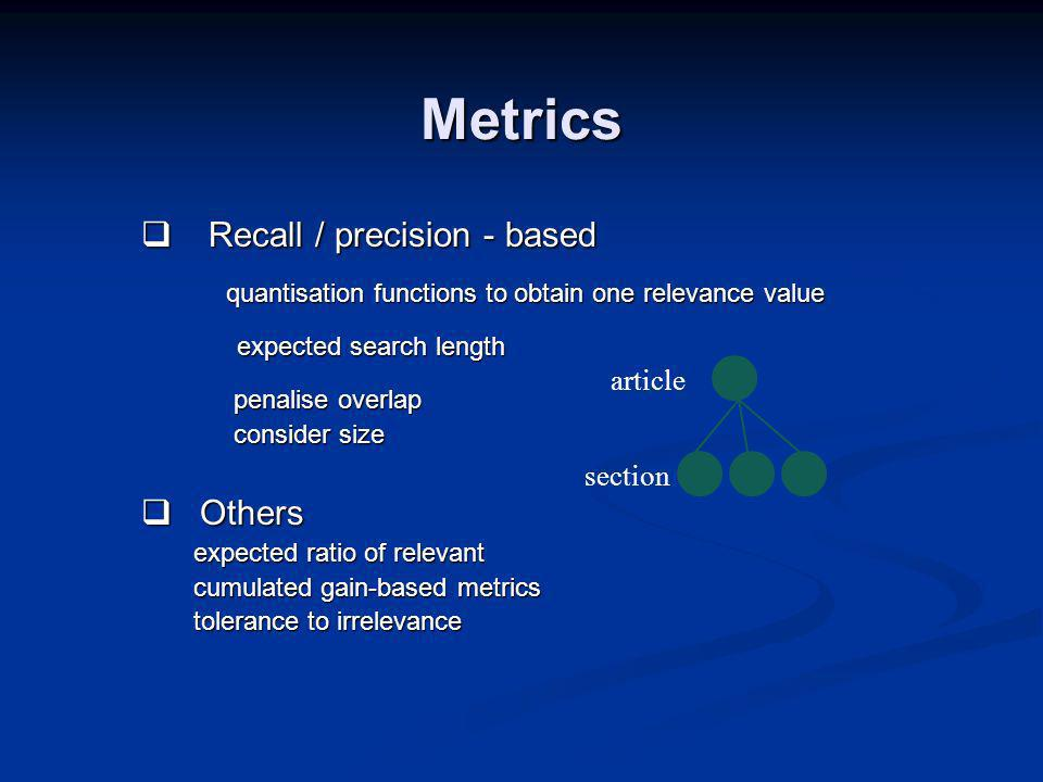 Metrics Recall / precision - based Recall / precision - based quantisation functions to obtain one relevance value expected search length expected search length penalise overlap penalise overlap consider size consider size Others Others expected ratio of relevant cumulated gain-based metrics tolerance to irrelevance section article