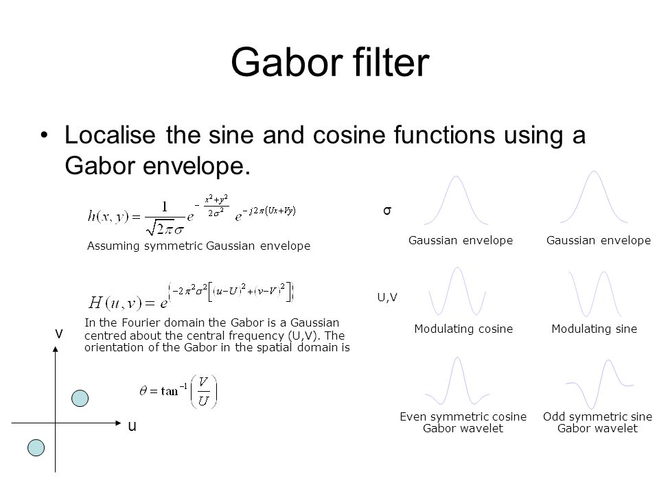 Gabor filter Localise the sine and cosine functions using a Gabor envelope.