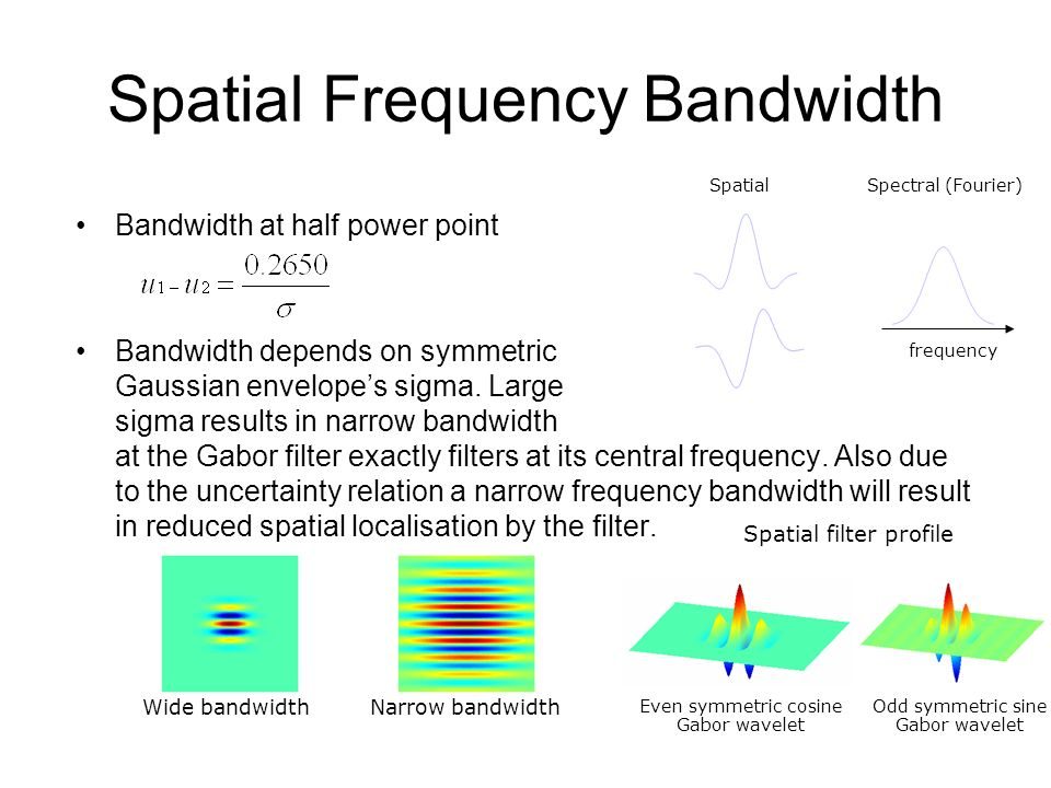 Spatial Frequency Bandwidth Bandwidth at half power point Bandwidth depends on symmetric Gaussian envelopes sigma. Large sigma results in narrow bandw