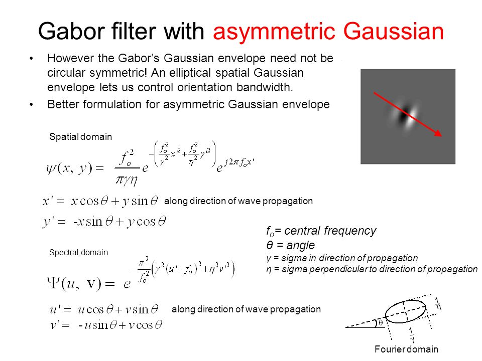 Gabor filter with asymmetric Gaussian However the Gabors Gaussian envelope need not be circular symmetric.
