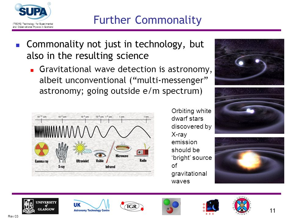 (TEOPS) Technology for Experimental and Observational Physics in Scotland Rev 03 11 Further Commonality Commonality not just in technology, but also i