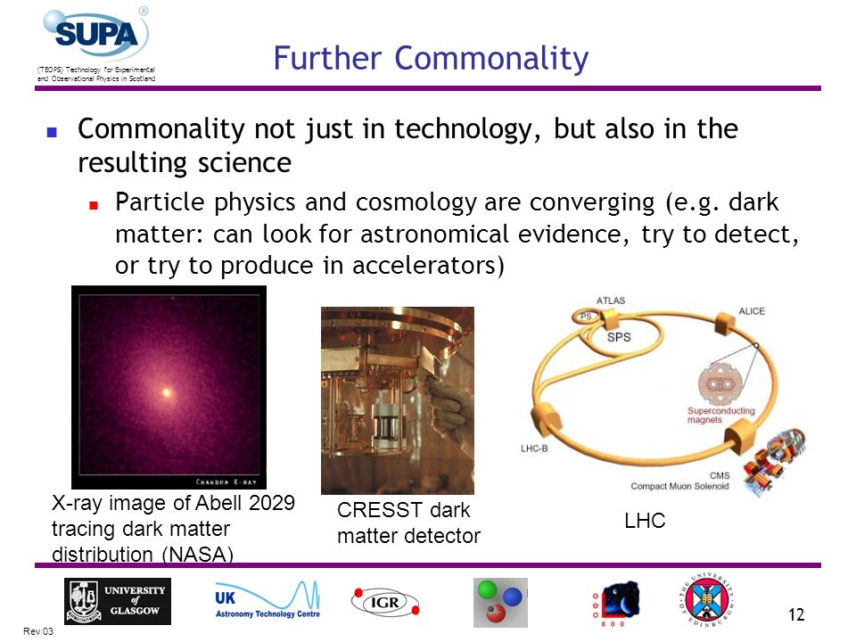 (TEOPS) Technology for Experimental and Observational Physics in Scotland Rev 03 12 Further Commonality Commonality not just in technology, but also i
