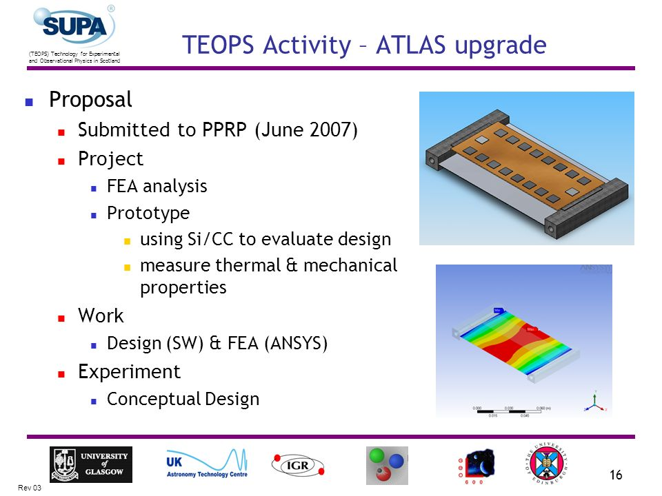 (TEOPS) Technology for Experimental and Observational Physics in Scotland Rev 03 16 TEOPS Activity – ATLAS upgrade Proposal Submitted to PPRP (June 2007) Project FEA analysis Prototype using Si/CC to evaluate design measure thermal & mechanical properties Work Design (SW) & FEA (ANSYS) Experiment Conceptual Design