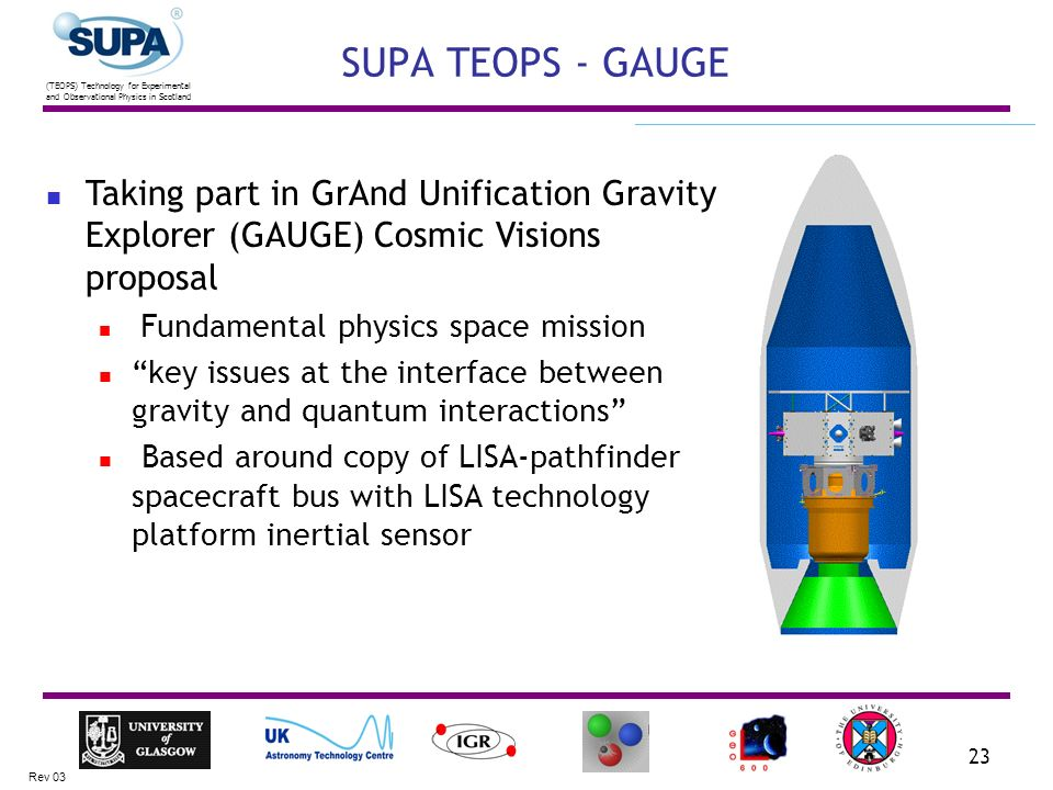 (TEOPS) Technology for Experimental and Observational Physics in Scotland Rev 03 23 SUPA TEOPS - GAUGE Taking part in GrAnd Unification Gravity Explorer (GAUGE) Cosmic Visions proposal Fundamental physics space mission key issues at the interface between gravity and quantum interactions Based around copy of LISA-pathfinder spacecraft bus with LISA technology platform inertial sensor