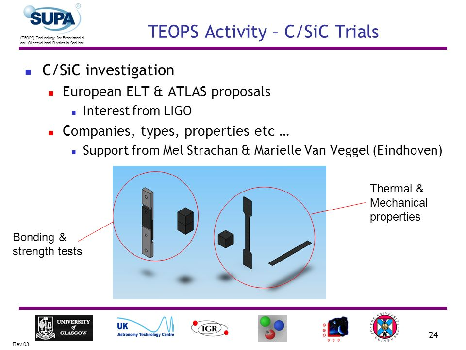(TEOPS) Technology for Experimental and Observational Physics in Scotland Rev 03 24 TEOPS Activity – C/SiC Trials C/SiC investigation European ELT & ATLAS proposals Interest from LIGO Companies, types, properties etc … Support from Mel Strachan & Marielle Van Veggel (Eindhoven) Bonding & strength tests Thermal & Mechanical properties