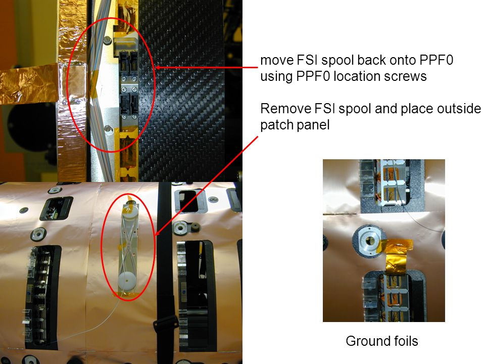 move FSI spool back onto PPF0 using PPF0 location screws Remove FSI spool and place outside patch panel Ground foils