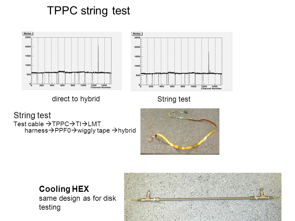 TPPC string test String test Test cable TPPC TI LMT harness PPF0 wiggly tape hybrid direct to hybrid String test Cooling HEX same design as for disk t