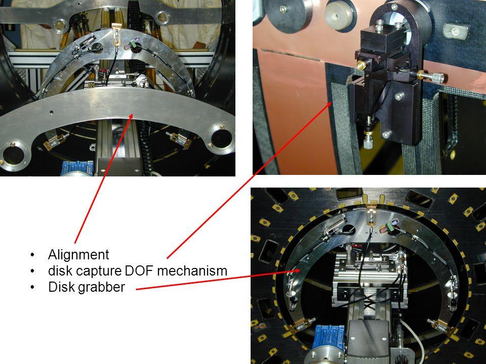 Alignment disk capture DOF mechanism Disk grabber