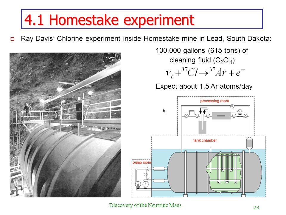 23 Discovery of the Neutrino Mass 4.1 Homestake experiment o Ray Davis Chlorine experiment inside Homestake mine in Lead, South Dakota: 100,000 gallon
