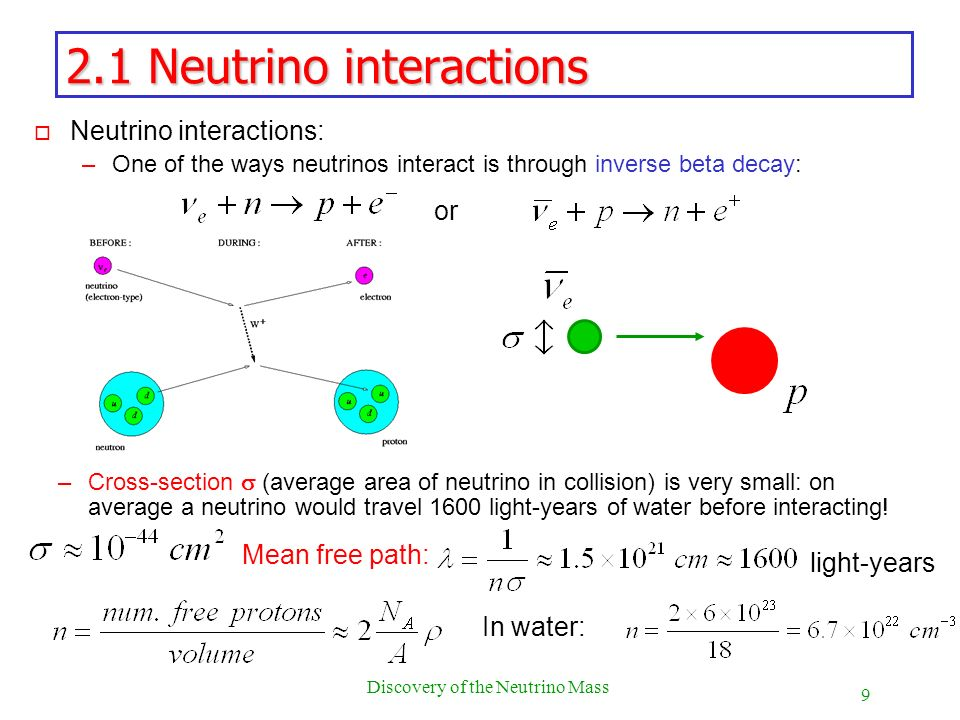 9 Discovery of the Neutrino Mass 2.1 Neutrino interactions o Neutrino interactions: –One of the ways neutrinos interact is through inverse beta decay: