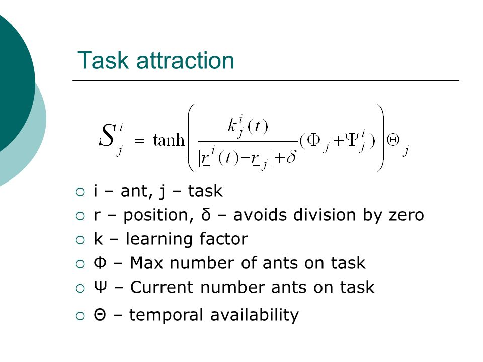 Task attraction i – ant, j – task r – position, δ – avoids division by zero k – learning factor Φ – Max number of ants on task Ψ – Current number ants