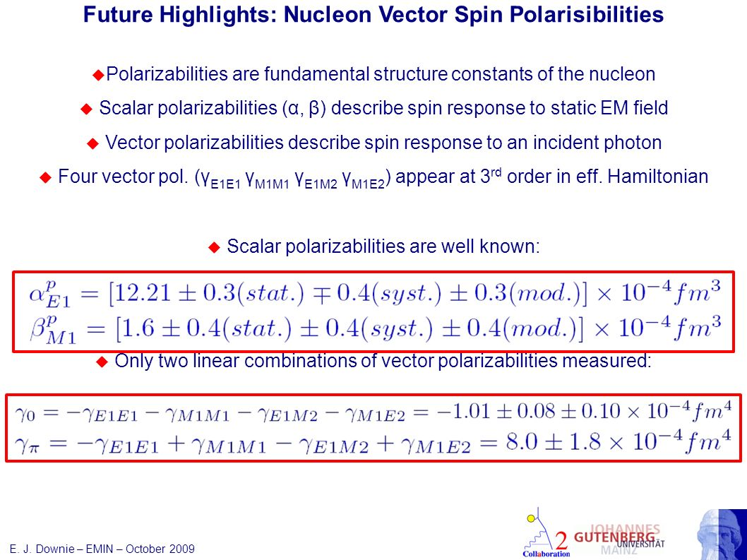 E. J. Downie – EMIN – October 2009 Future Highlights: Nucleon Vector Spin Polarisibilities Polarizabilities are fundamental structure constants of the