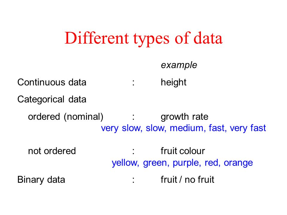 Different types of data example Continuous data:height Categorical data ordered (nominal):growth rate very slow, slow, medium, fast, very fast not ord
